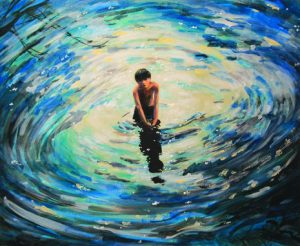 arcylic on canvas - boy in the water