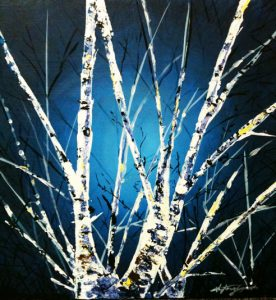 stephany castilla, painting, winter birch, ottawa, artist, whote branches